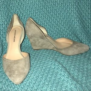 Taupe Suede Antonio Melani Wedges with Pointed Toe